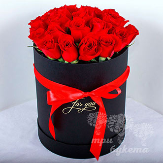 23 красные розы в коробке